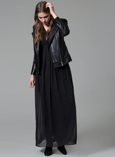Uzun Kollu Pileli Elbise-İroni